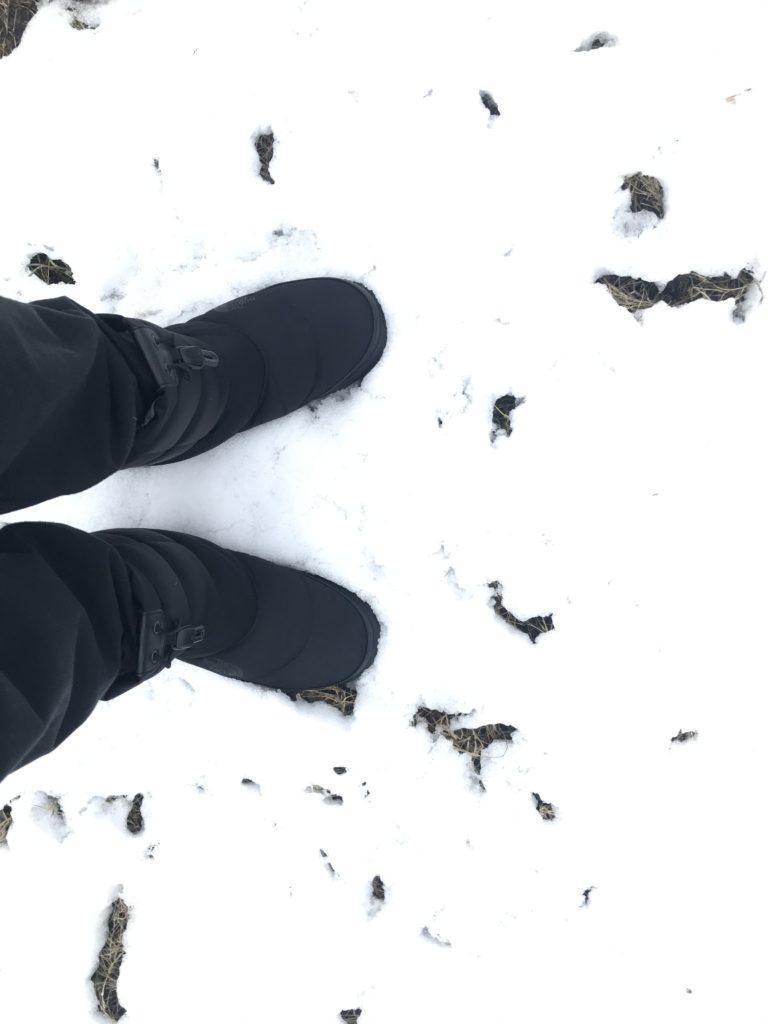 雪の中に立つ足元
