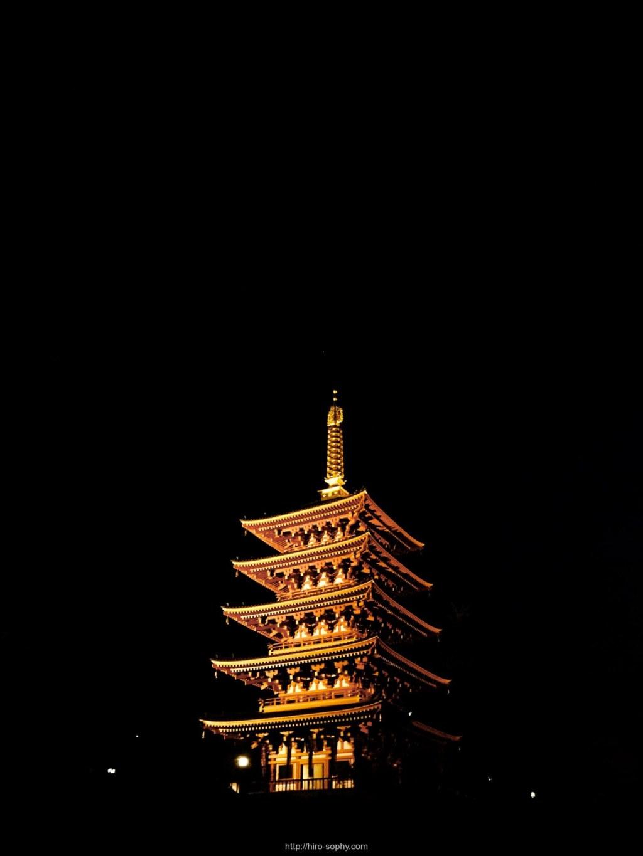 夜空に光る五重塔