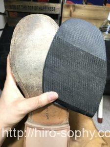 ハーフラバーをつける前の革靴