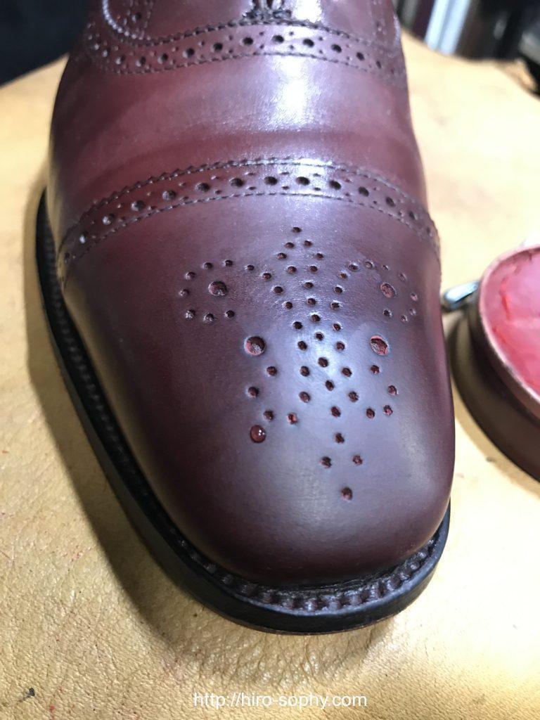 ワックスを落とした革靴