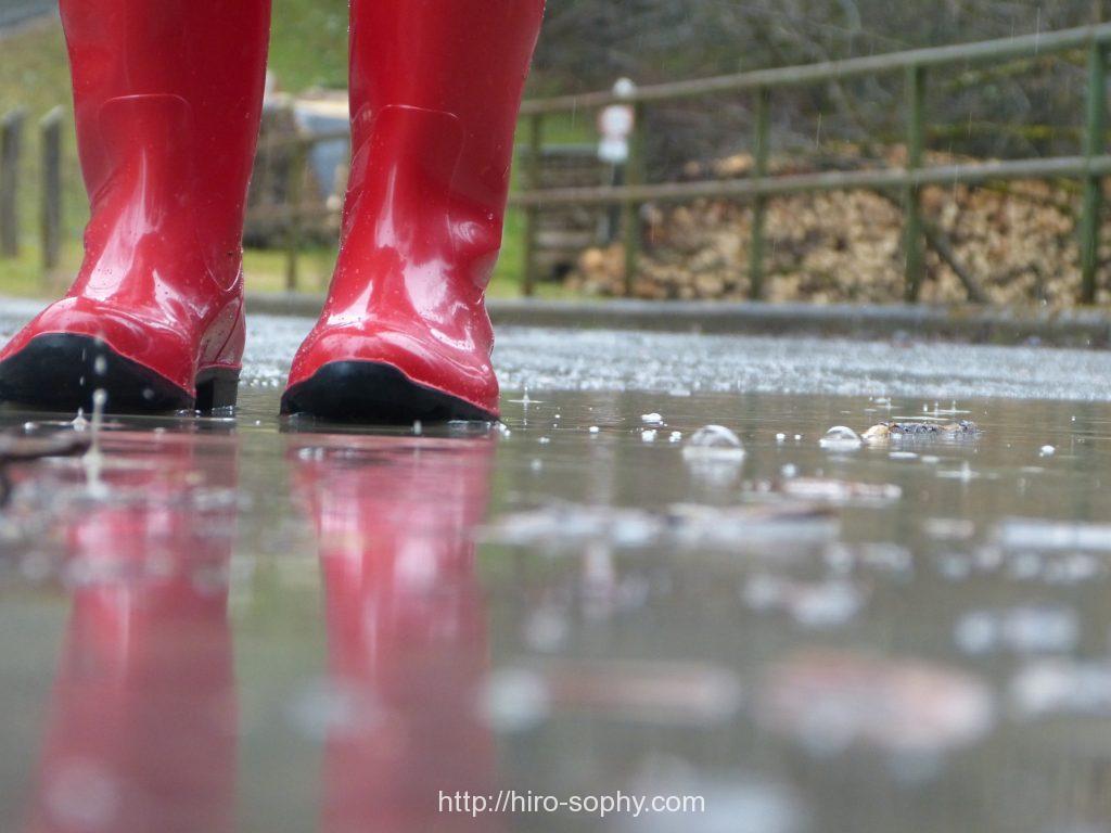 レインブーツと雨