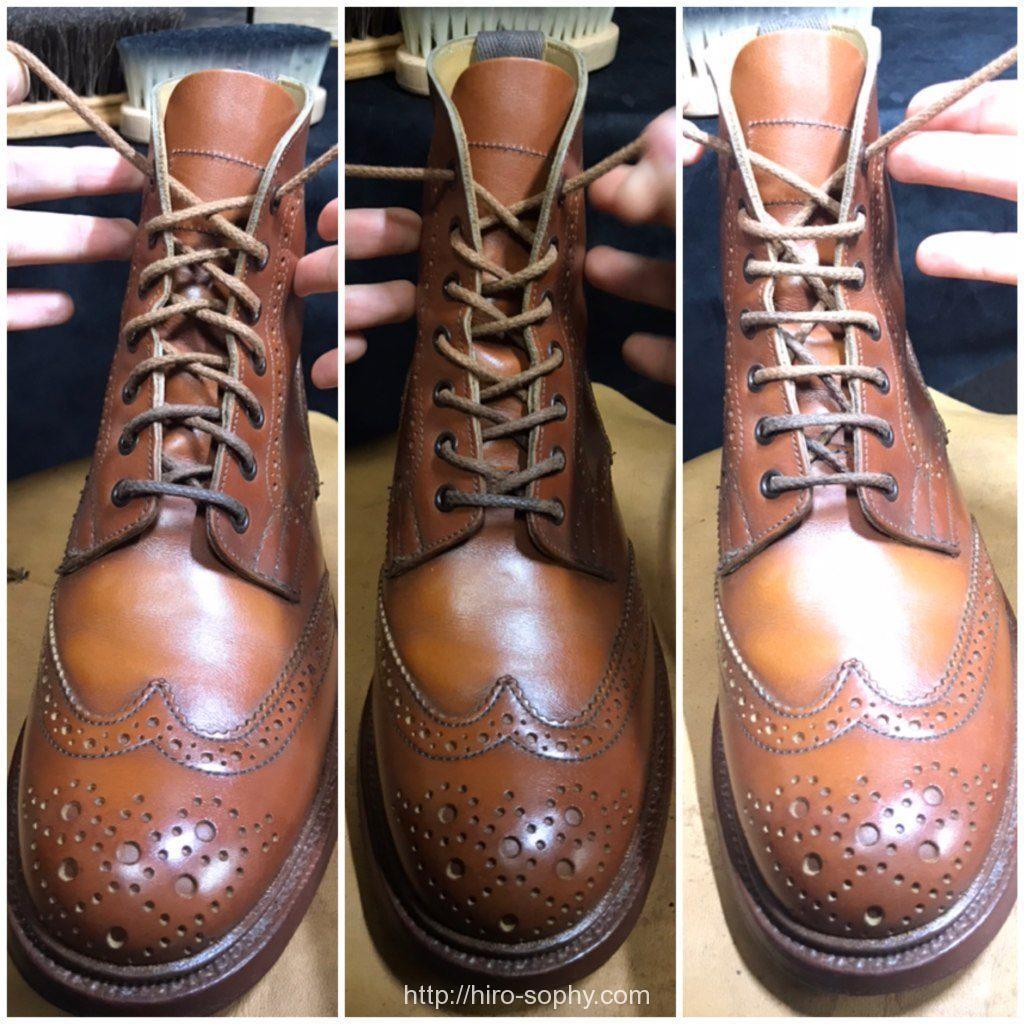 紐の通し方がそれぞれ違う革靴