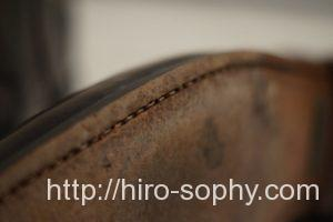 革靴のアウトソールのステッチ
