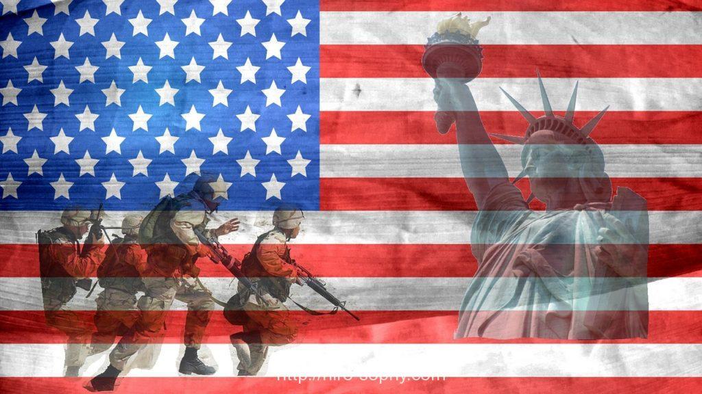 アメリカ国旗と自由の女神