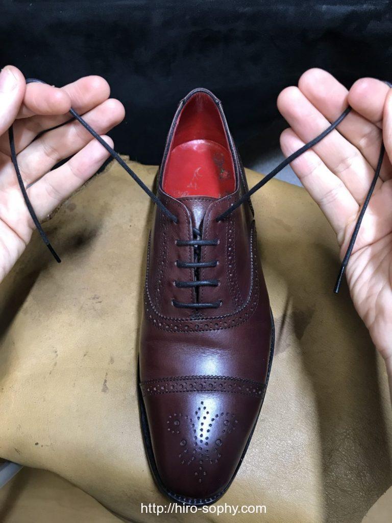 シングルで通し終わった革靴