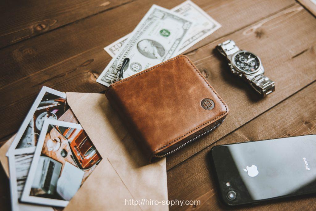 時計とお札と財布
