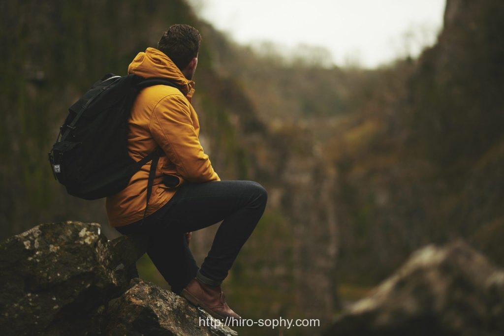 山を眺める男