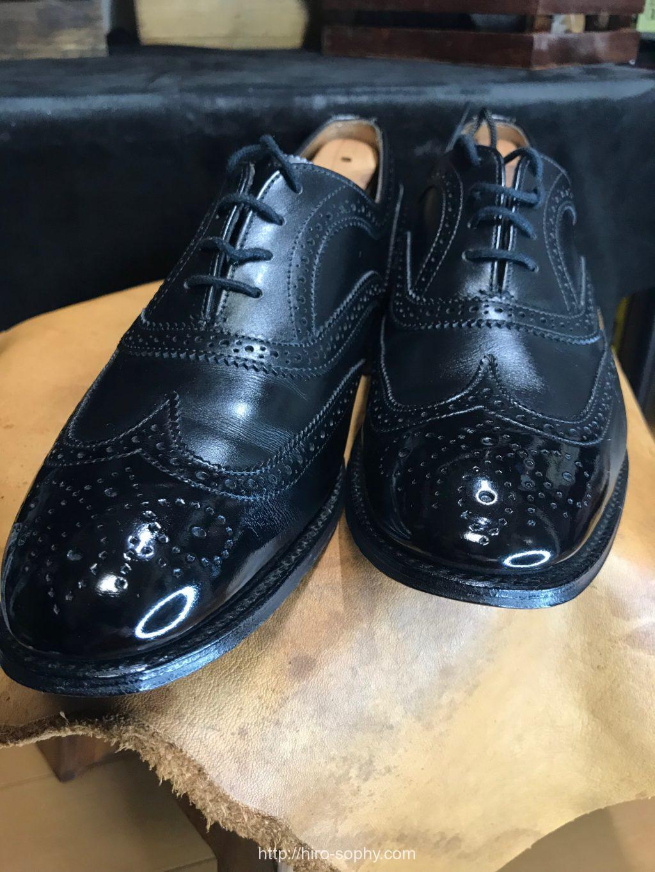 ポリッシュだけで磨いた革靴